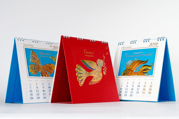 заказ печати перекидных настольных календарей
